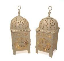 set 2 Cream METAL Lanterns no Glass free LED lights weddings garden