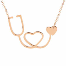 Medical Doctor Nurse Stethoscope Heart Rose Gold Charm Pendant Chain Necklace