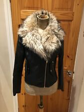 Womens Jacket Size 10 By River Island Black Faux Leather Biker Smart Casual