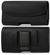 Black Leather Horizontal Belt Clip Loop Case Pouch Cover Holster For HTC Phones