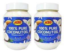 2 x KTC 100% Puro Olio Di Cocco Cucinare Pelle E Capelli Cura Multiuso 500ml