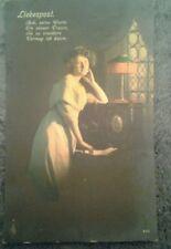 Postkarte 1912, Liebespost m. Gedicht, beschrieben, gestempelt,  bunt