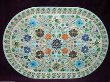 White Marble Serving Tray Fine Marquetry Malachite Inlay Arts Housewarming Gift