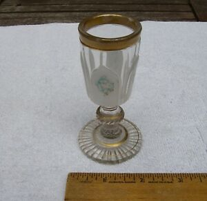 Early 19th C FRENCH Cased GLASS CORDIAL-White Arches w/Blue Enamel & Gilt-NR