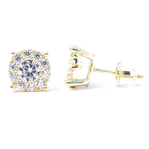 Mens Small 14K Gold 925 Sterling Silver Round Honey Comb Cluster Stud Earrings