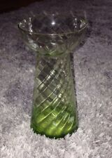 Rare Tall Vintage Antique Hyacinth Glass Vase Beautiful Green Ribbed Collectors