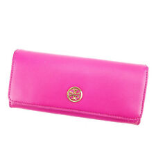 Tory Burch Wallet Purse Long Wallet Pink Gold Woman Authentic Used P498