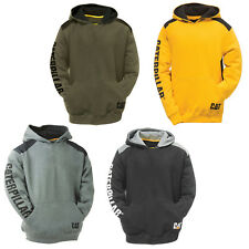 CAT Caterpillar Logo Panel Sweatshirt Hoodie Durable Work Mens Jumper Fleece