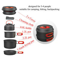 1-2/3-4 Person Cooking Camping NEW NICE Outdoor Pots Frying Pan Kettle Set #9