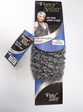 "Foxy Silver 12"" Salt n' Pepper Human Hair Blend Jerry Curl Weave Grey Color 51"