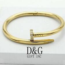 "New DG Gift Inc Women's 7"" Stainless Steel Gold CZ Nail Bangle Bracelet + Box"