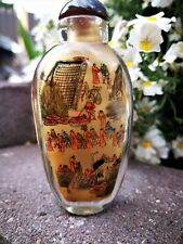 Antique Chinese Glass Snuff Bottle Japanese Inside Painted Tobacco Box Signed