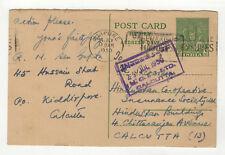 India Inde 1950 entier postal sur carte postale tampon Calcutta / T2485