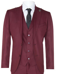 New Mens 3 Piece Suit Plain Wine Classic Tailored Fit Smart Casual 1920s Formal