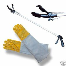 """ARD 60"""" Pro SNAKE TONGS Reptile Grabber Rattle Snake Catcher with Free Gloves"""