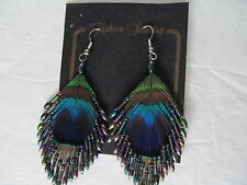 "Vintage Peacock Feather Earrings with Colored Beads. Approx. 2"" wide by 3"" Long"