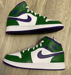 New Air Jordan 1 Mid GS Size 7Y Purple/Green Incredible Hulk Mid 554725-300