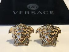 VERSACE Earrings, Authentic, Medusa Head, Light Gold Plated, Large, Brand New