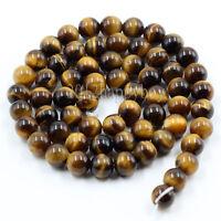 Round Yellow Tiger Eye Beads Jewelry Making Loose Gemstone Beads 4/6/8/10/12mm