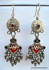 Vintage Antique tribal old silver earrings earplug pair dangle earrings