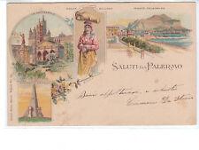 CARTOLINA - SALUTI DA PALERMO - VIAGGIATA 1902
