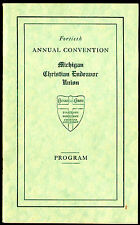 Michigan Christian Endeavor Union Lot of 11 Convention Programs 1916 - 1931