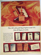 VINTAGE CHRISTMAS 1960's SOLID 14 K GOLD ZIPPO LIGHTER & MORE COLOR SIGN AD