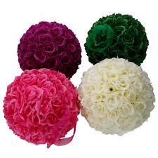 "Lot 6 10"" Kissing Ball Pomander Flower Pew Wedding Silk Party Rose Dark Pink"