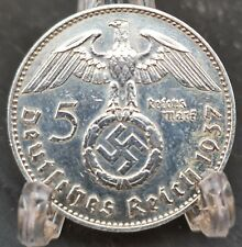 1937 A NAZI GERMANY 5 REICHSMARK - AU/UNC Awesome Silver Coin minting Hamburg