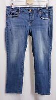 American Eagle Skinny Stretch Whiskered Medium Wash Jeans sz 14 Short