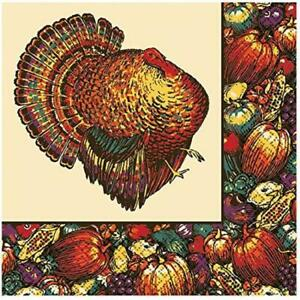 Autumn Turkey Day Fall Thanksgiving Holiday Theme Party Paper Beverage Napkins