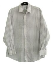 "CHARLES TYRWHITT WHITE / BLUE CHECK SLIM FIT SHIRT - Collar 17"" 1/2"