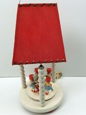 1950's Painted Wood Nursery Lamp w/Music Box Drummers Whip Stitch Shade Red