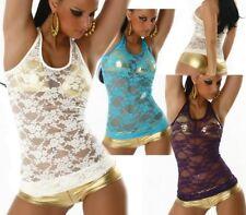 SeXy Miss Damen Tank Top transparent Spitze Gogo Strip U Top XS/S Freesize NEU
