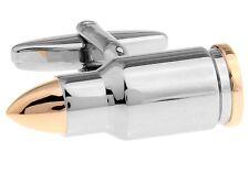 Bullet Cufflinks 2 Tone Military NRA DEA Wedding Fancy Gift Box Free Ship USA