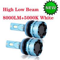 2x H11 LED Scheinwerferlampe Kits 55W 8000LM 5000K Weiß High-Low Beam Mini Desig