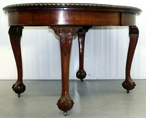 MAHOGANY EXTENDING DINING TABLE ONE LEAF CABRIOLE LEGS WITH CLAW & BALL FEET