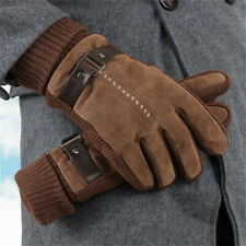Men Warm Fleece Gloves Winter Windproof Thick Thermal Gloves Full Finger Classic
