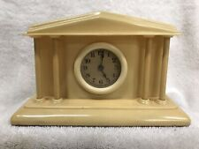 Lux by Waterbury Celluloid Courthouse Table / Shelf Clock With Columns