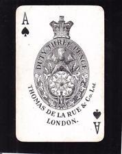 Thomas de la Rue Card, Duty Three Pence 3d (24654)
