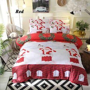 3D Santa Claus Deer Snowflakes Christmas Bedding Set Duvet Cover Quilt Cover Set