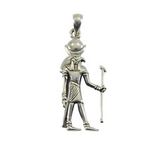Solid 925 Sterling Silver Egyptian God KHONSU Pendant God of the Moon
