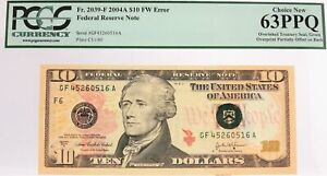2004 A $10 FRN Atlanta Fr#2039-F Overinked Overprint Error PCGS Choice 63 PPQ