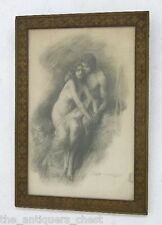 Lee Woodward Zeigler(1868-1962) Young Lovers, Charcoal on paper.