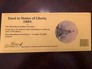 Deed to Statue of Liberty