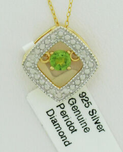 GENUINE PERIDOT & DIAMOND PENDANT NECKLACE .925 Sterling Silver * NEW WITH TAG *