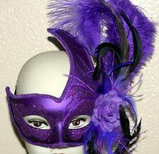 VENETIAN Mardi Gras Masquerade Ball Womens PURPLE SWAN MASK with FEATHERS New
