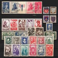 France année complète 1943 Yvert n° 568 à 598 avec 2 bandes oblitérés 1er choix