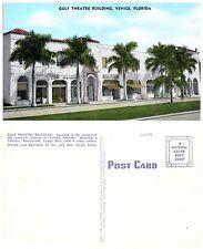 Vintage Linen Postcard; Gulf Theatre Building, Venice FL Sarasota Co. Unposted