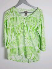 Chico's Womens Long Sleeve Green Top V-Neck Size 0 New